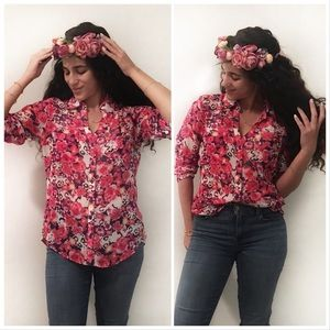 Express floral printed button down blouse